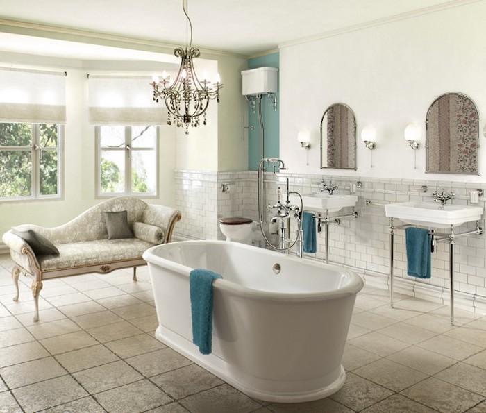 shabby deko, badezimmer in weiß und kürbis, freistehnde ovale badewanne