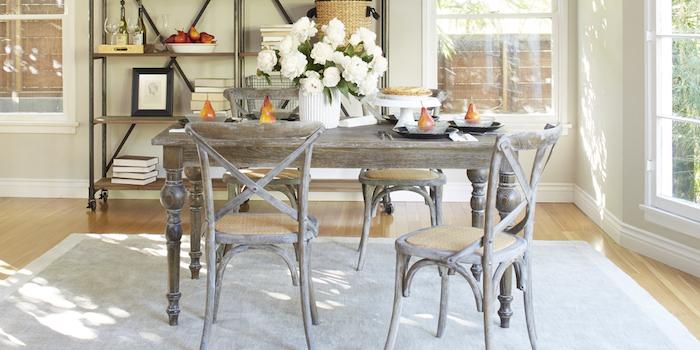 kommode shabby, küche einrichten und dekorieren, tisch und stühle im retro-look