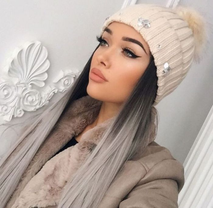 braune haare grau färben, lange glatte haare im ombre look