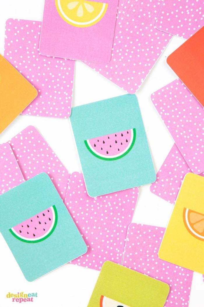 Spiel mit Karten selber machen, Früchte zeichnen, tolle DIY Ideen für Kinder