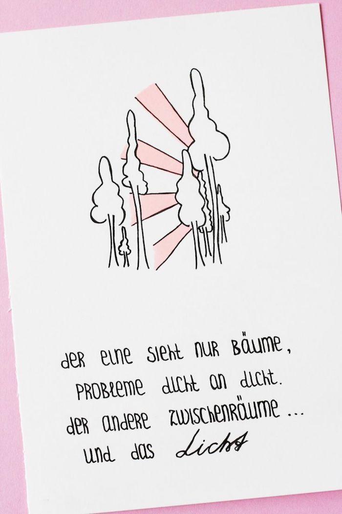 nachdenkliche zitate postkarte zum schenken idee rosa und weiß schöne zitate