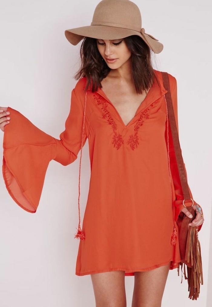 strandmode damen orange tunika beiger hut beige tasche tolles outfit idee