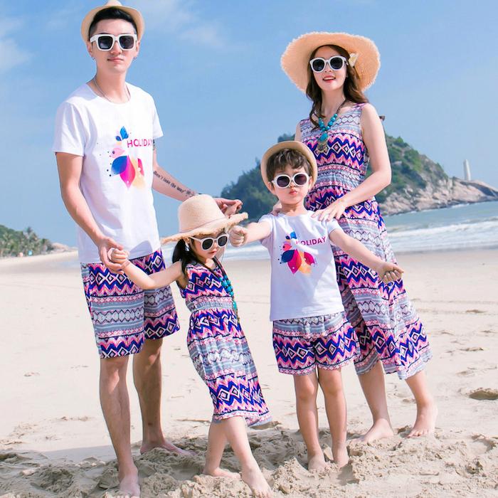 strandmode für die ganze familie lila print motive familie mama papa und die zwei kinder