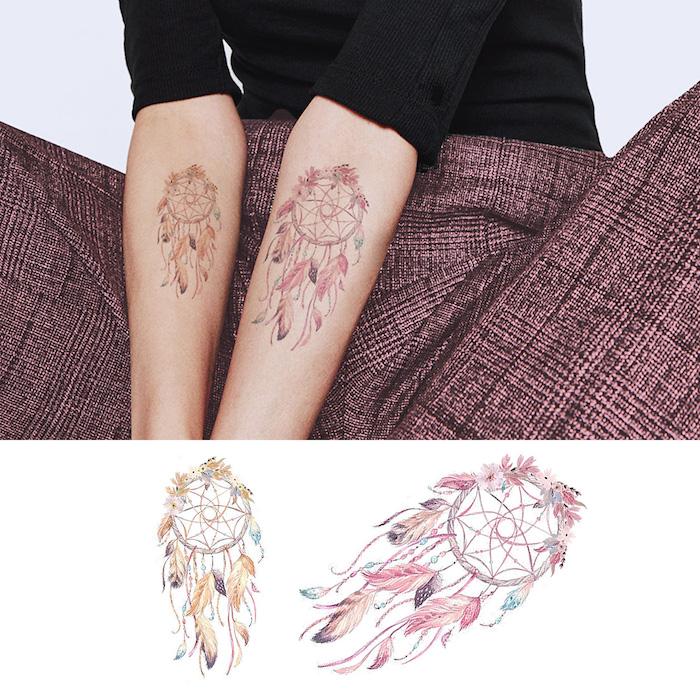 Temporäres Dreamcatcher Tattoo am Unterarm, Traumfänger mit vielen bunten Federn