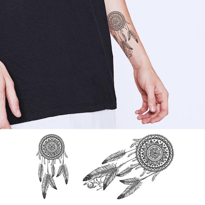 Großes Dreamcatcher Tattoo am Unterarm, temporäre Traumfänger Tattoos für Frauen