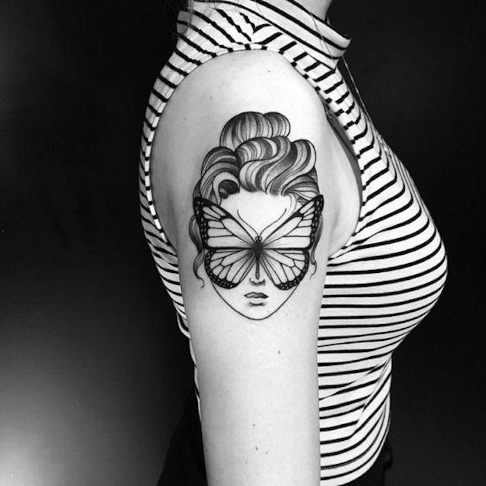 ein interessantes Tattoo wie Kunstwerk - ein Gesicht von Frau mit Schmetterling statt Augen Tattoo Stile
