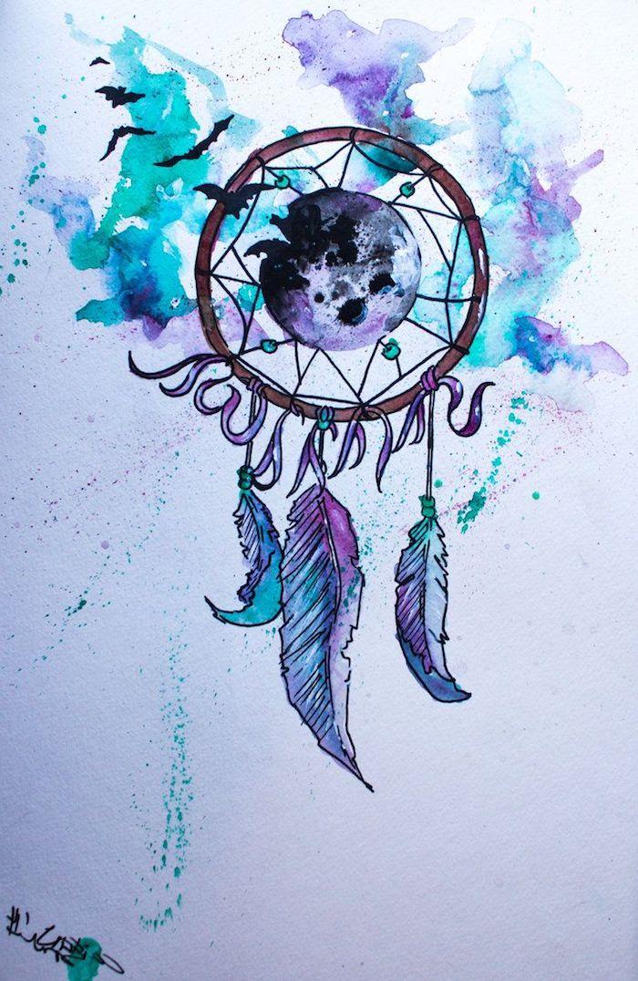 Idee für Traumfänger Tattoo, Dreamcatcher mit drei Federn, Mond und Fledermäusen