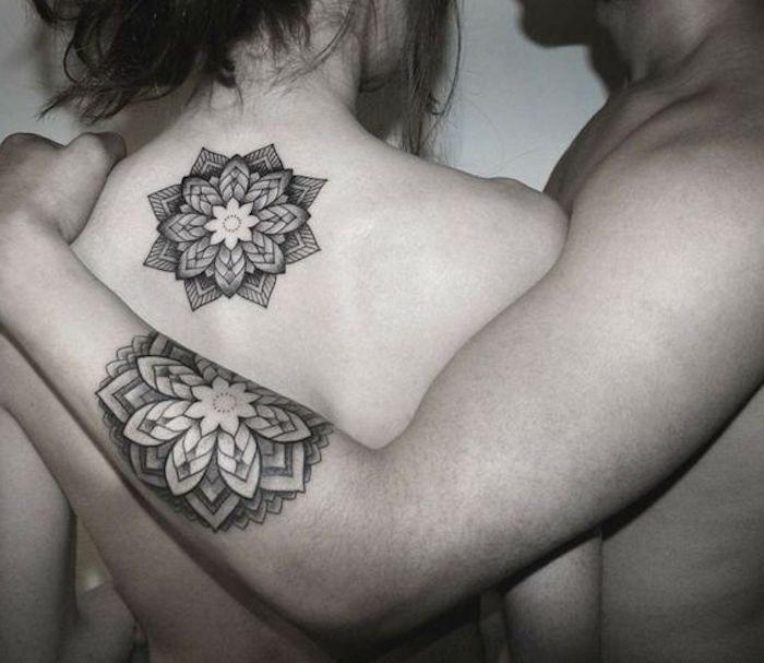 Paaren-Tattoos, Mandala-Tattoos für Männer und Frauen, Rücken- und Armtattoos