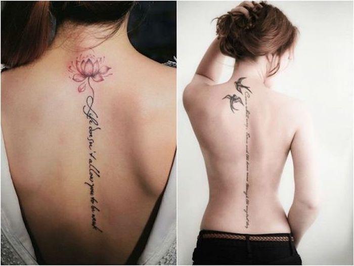 Tattoo-Sprüche auf dem Rücken, rosa Lotusblume, schwarze Vögel