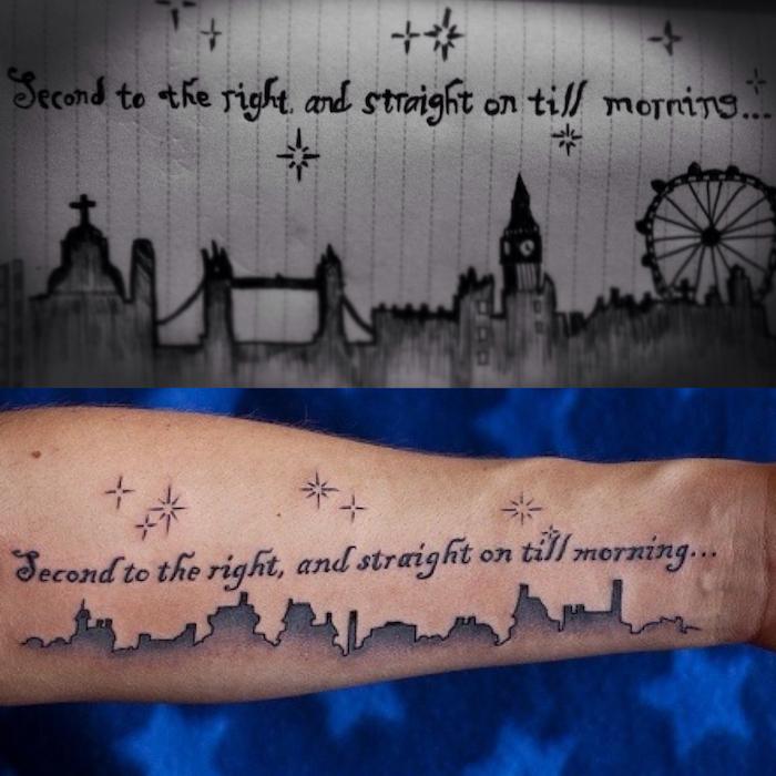 ein Peter Pan Fan hat sich ein Zitat aus dem Buch tätowiert - Tattoo Schrifte