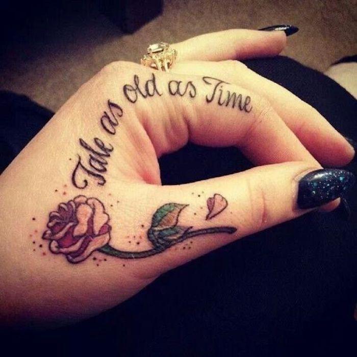 Es war einmal und eine Rose englische Tattoo Sprüche an der Hand und einen Ring