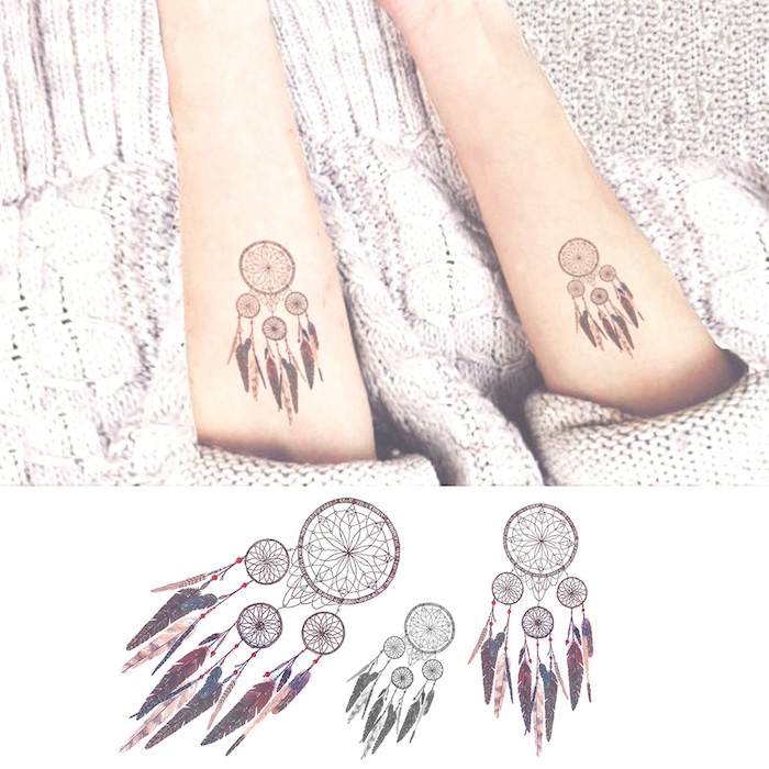 Temporäre Dreamcatcher Tattoos, Arm Tattoos für Frauen, Tattoo am Unterarm