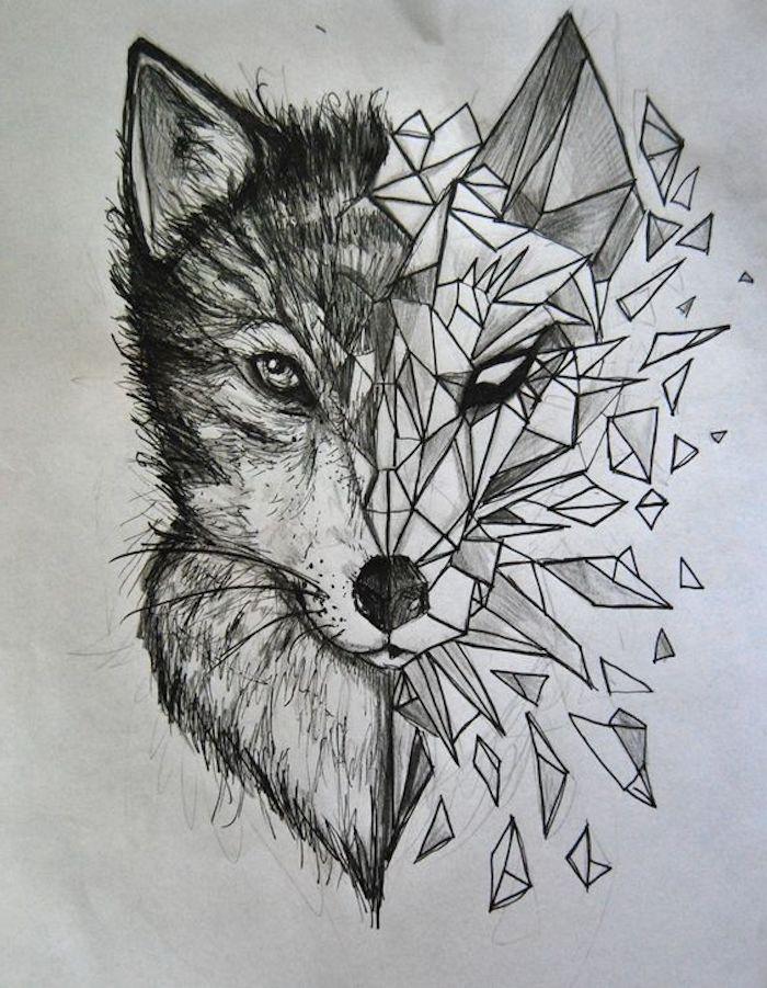 Zeichnung mit schwarzem Bleistift, Wolf, geometrisches Tier-Tattoo