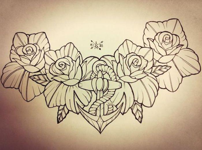 ein Kranz aus Rosen mit einem Anker mit Seil in der Mitte
