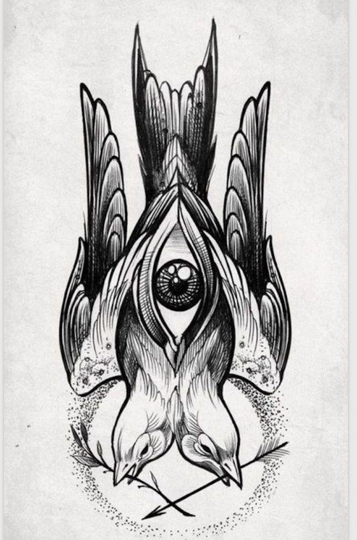 zwei Vögel mit zweigen im Mund und ein Auge in der Mitte