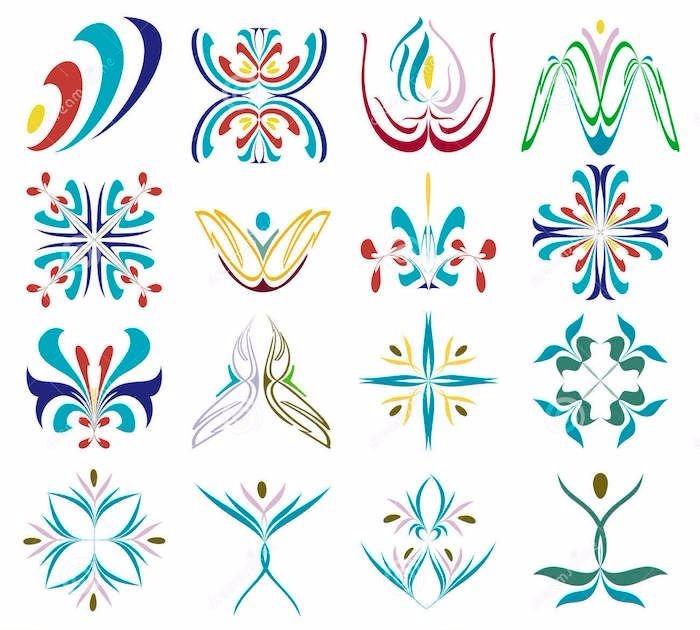 abstrakte Motive in verschiedenen Farben, Blumen, Lillie, vierblättriges Kleeblatt