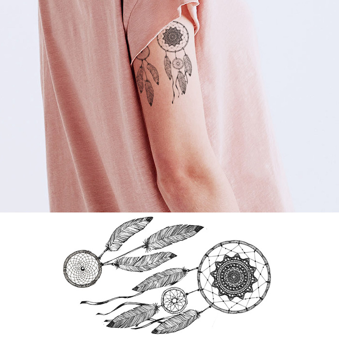 Dreamcatcher Tattoo am Oberarm, Arm Tattoo für Frauen, temporäre Tattoos