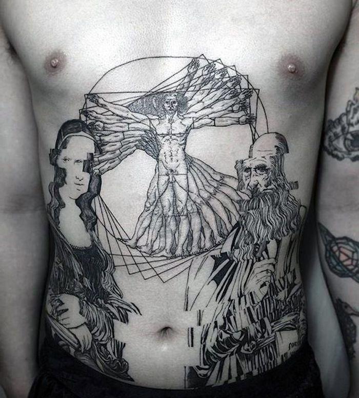 Mann mit drei Bauchtattoos, Kunst, Hautverzierung, Brust ohne Haare