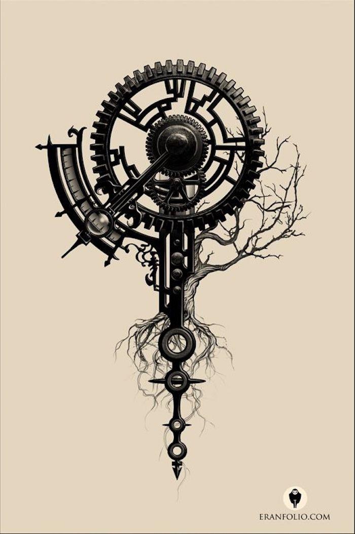 Kompas, Mechanismus, Pfeiler, Baum ohne Blätter mit langen Wurzeln