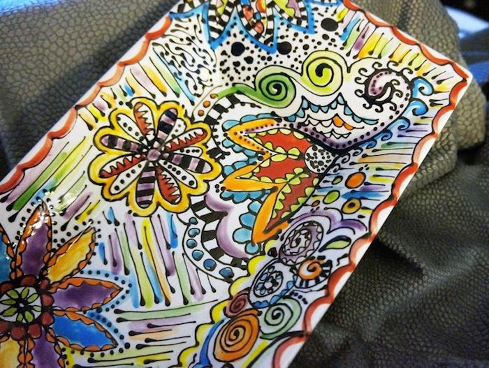 Töpfern Für Anfänger: Keramikteller Mit Malerei, Viereckige Form, Intensive  Farben