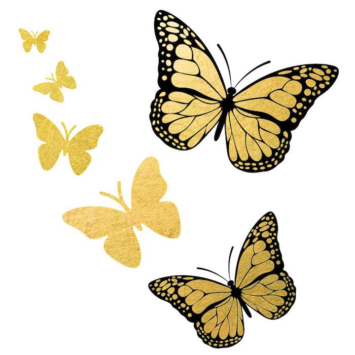 ideen für toll aussehende kleine goldene tattoos mit fliegenden schmetterlingen