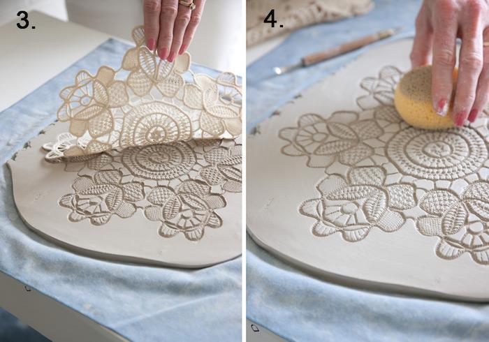 Teller mit Spitzendruck aus Ton gestalten, Töpferarbeiten ohne Brennen