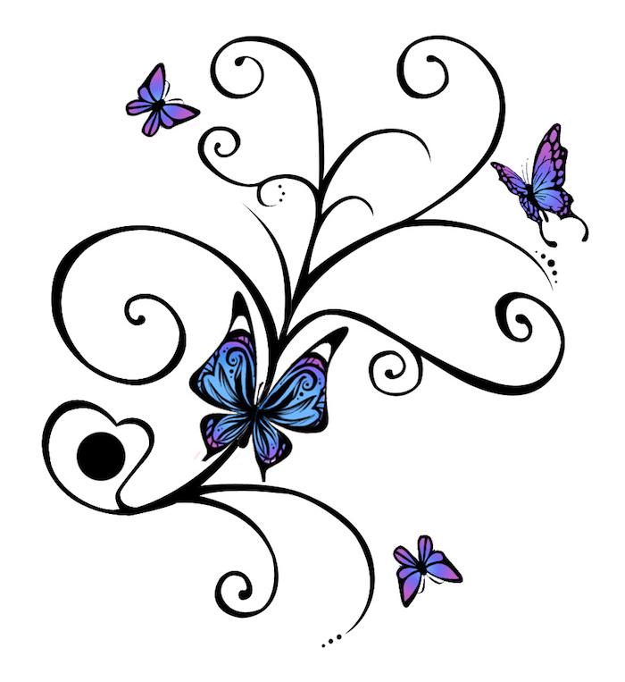noch eine unserer ideen zum thema 3d schmetterling tattoo vorlagen, die ihnen sehr gut gefallen könnte . hier sind vier kleine blaue schmetterlinge und schwarze blumen