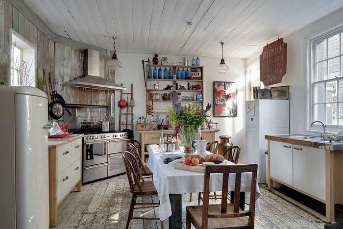 shabby chic küche essecke und vintage accessoires design idee