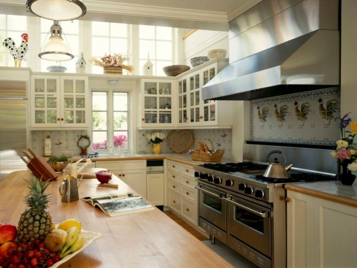 küche shabby chic vintage deko und arbeitsplatte aus massivholz