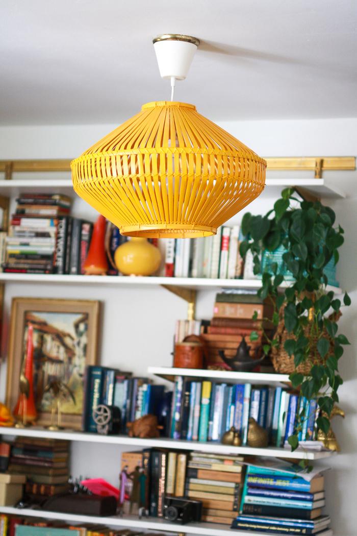 Vintage Lampe, Regale mit vielen Büchern darauf, Zimmerpflanze, Bild, Retro Look