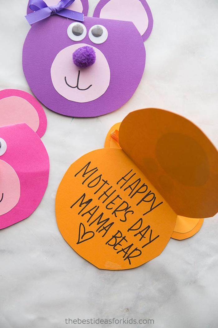 Süße Muttertagskarten selber machen, Basteln zum Muttertag mit Kindern, Karten in Form von Bärchen