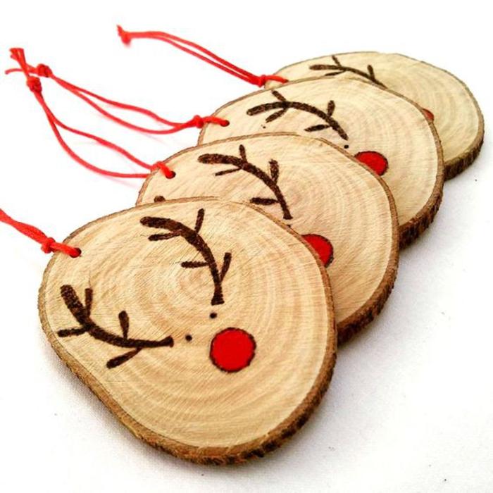 Rudolph aus Holz selber machen, tolle DIY Ideen für Weihnachtsschmuck, Kindern Spaß bringen