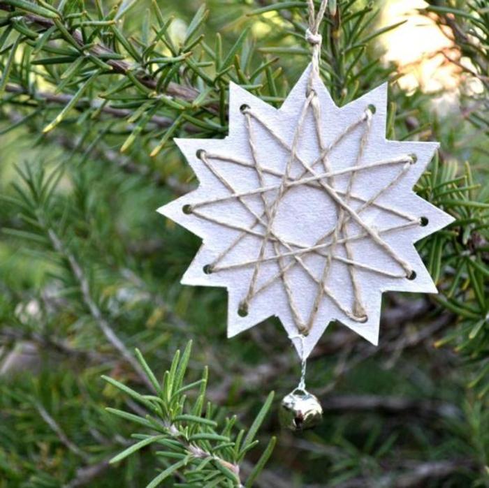 Sterne aus Papier und Faden selber machen, Weihnachtsschmuck mit Kindern basteln