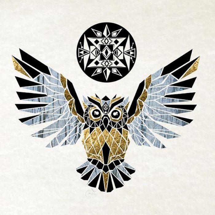 noch eine unserer ideen für einen eulen tattoo - hier ist eine gelbe goldene fliegende eule