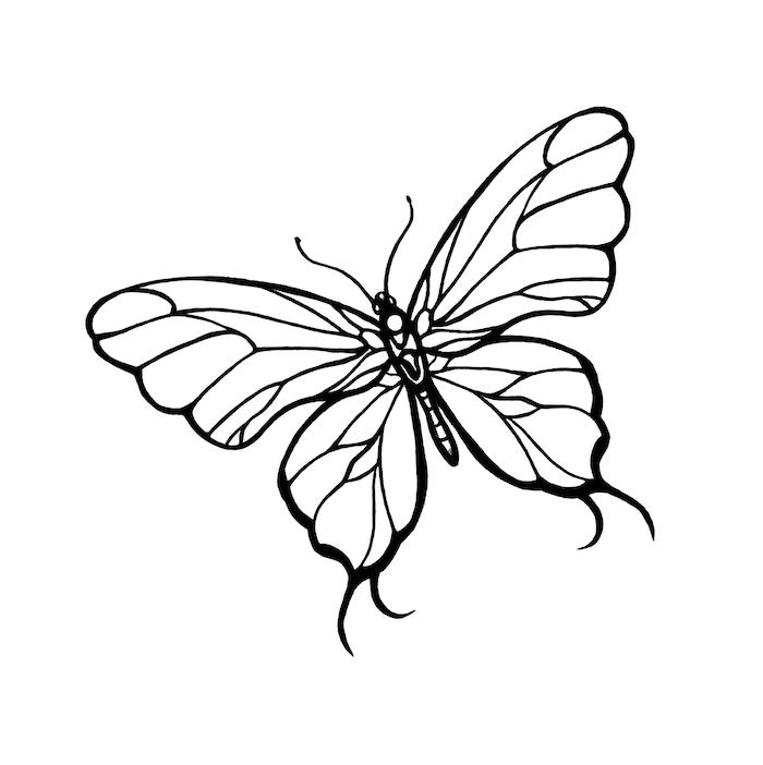 ein weißer, schöner, fliegender schmetterling mit großen weißen flügeln - idee zum thema tattoo schmetterlinge