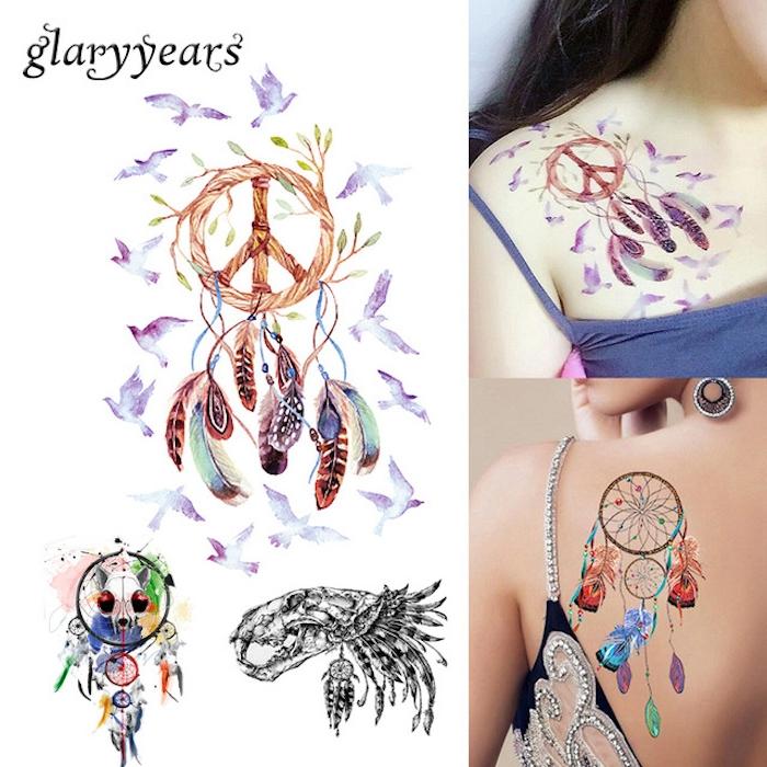 noch eine idee für einen tattoo für frauen mit fliegenden vögeln und einem bunten traumfänger mit bunten federn