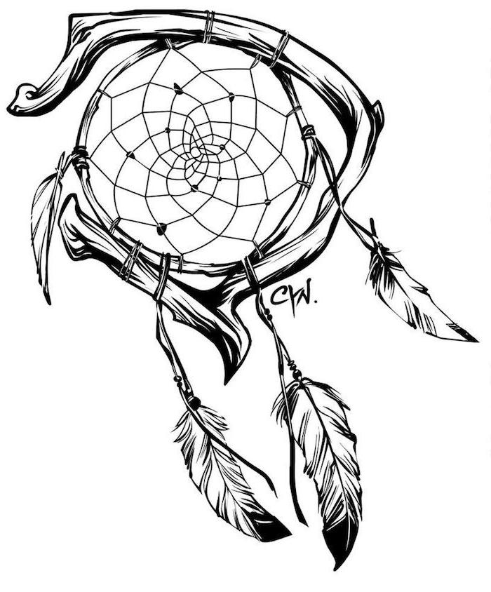 das ist eine idee für einen schwarzen tattoo mit traumfänger tattoo mit federn