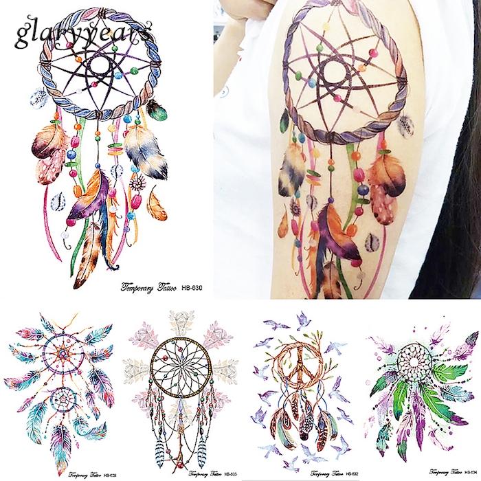 jetzt zeigen wir ihnen verschiedene ideen für einen tattoo mit einem bunten traumfänger mit bunten federn auf dem schulter