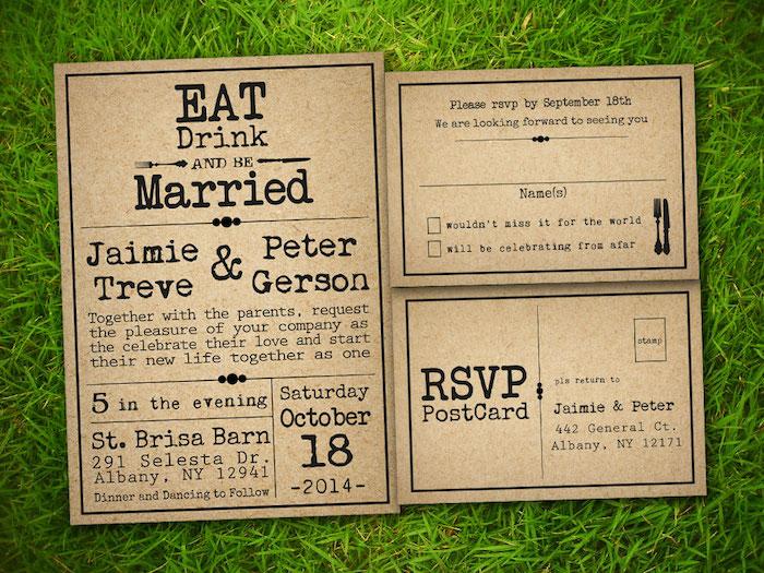Lass uns essen und trinken lädt die Hochzeitszeitung ein - Hochzeitszeitung Beispiele