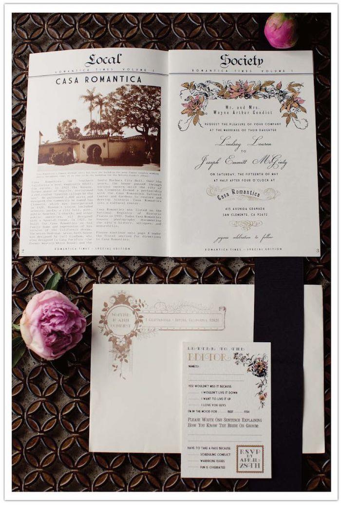die ganze Gestaltung im Überblick - Hochzeitszeitung Beispiele schön arrangiert