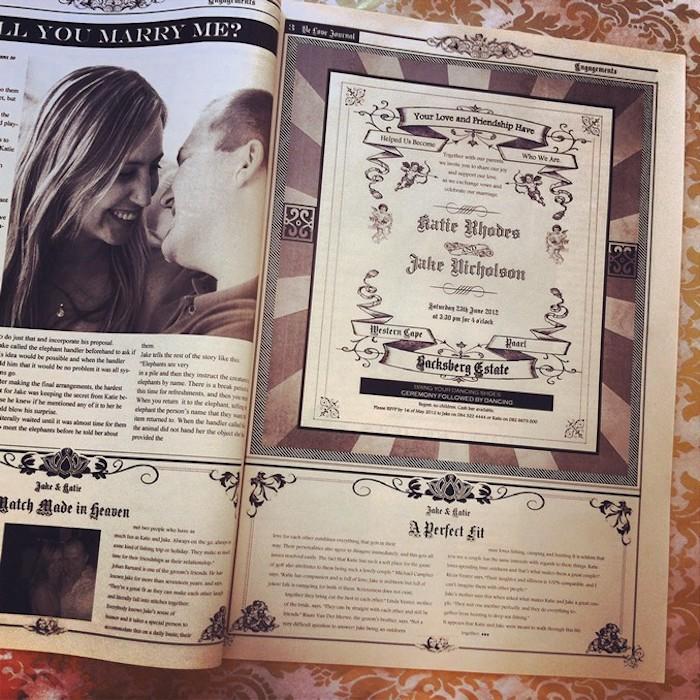 Hochzeitszeitung Beispiele - von Heiratsantrag bis zur Einladungskarte dargestellt