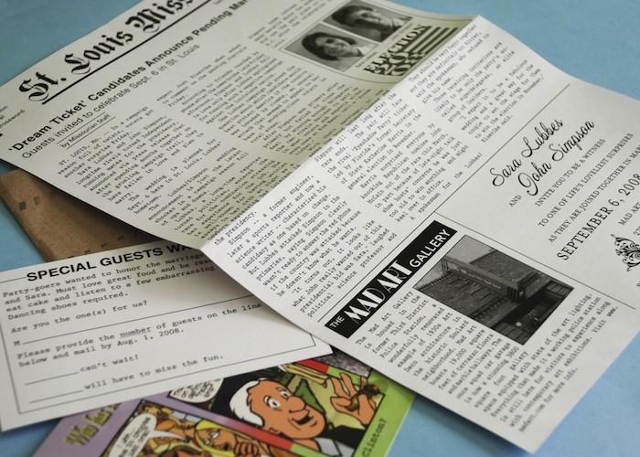 Hochzeitszeitung Beispiele - wie einen Artikel für die Wähle gestaltet mit kleinen Fotos