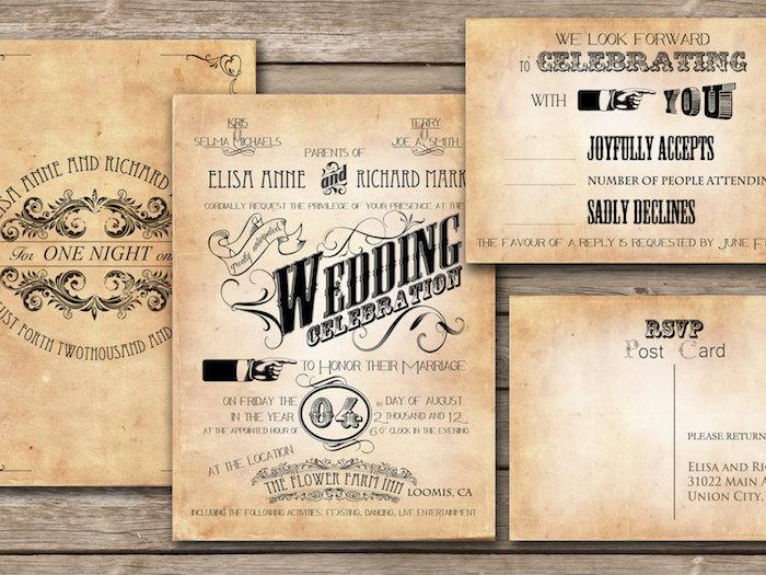 vintage Hochzeitszeitung Beispiele in Papier künstlich veraltet, was eine originelle Idee ist