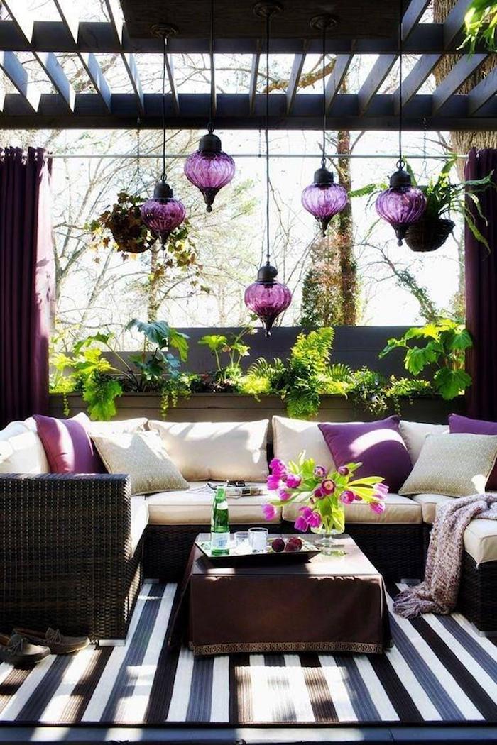 ein lila Wohnzimmer das von Saintpaulia inspiriert wird - Pflanzen für dunkle Ecken