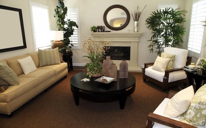 wohnzimmer mit viele zimmerpflanzen schattig nach feng shui geordnet - Wohnzimmer Pflanzen Schattig