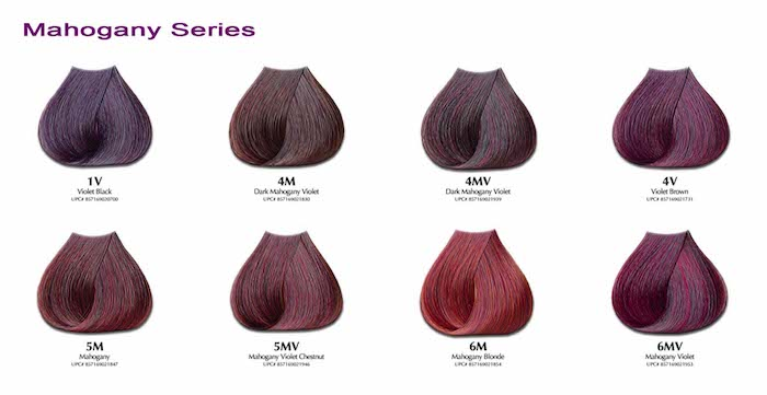 Mahagoni Nuance, rote Nuance, rote Haarfarbe, lila Haarfarbe