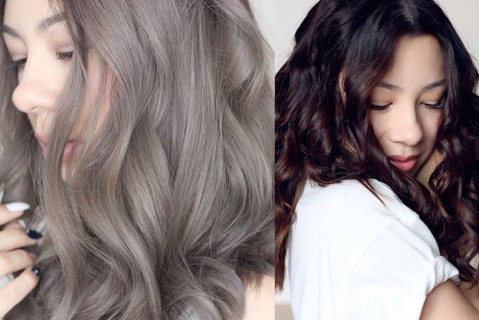 Asiatin mit grauen lockigen Haaren, Asiatin mit dunkelbrauner Schokoladenhaarfarbe