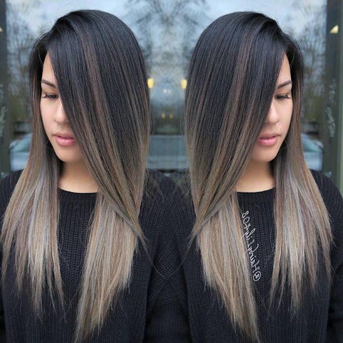 kühle graue und Blonde Haarspitzen mit dunklem Ansatz, Frauenpulli
