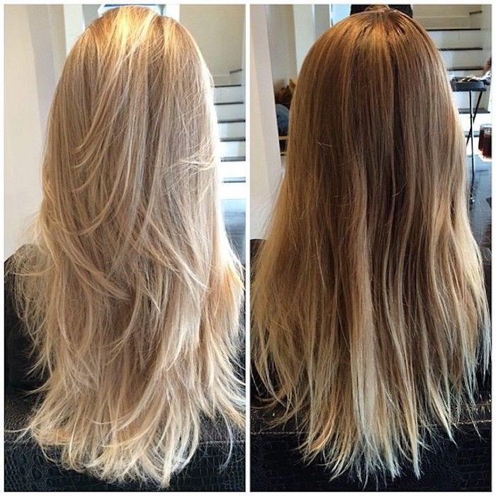 zwei Frisuren für blonde Haare, kühl Blond, warm Blond, Haare föhnen