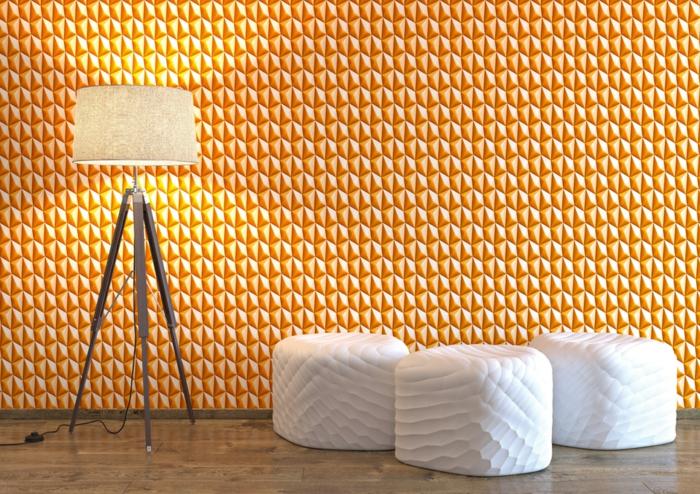 orangefarbene muster tapete in retro optik